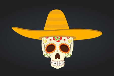 Vector Mexican Day of the Dead - skull in sombrero