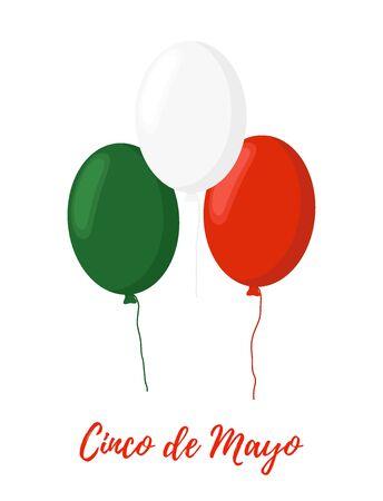 Vector cartoon balloons in colors of Mexican flag - Cinco de Mayo concept. Traditional holiday, national celebration. Ilustração