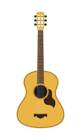 Vector musical instrument - wooden acoustic guitar, classical instrument Ilustração