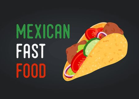 Vector Mexican fast food - taco with vegetables, meat
