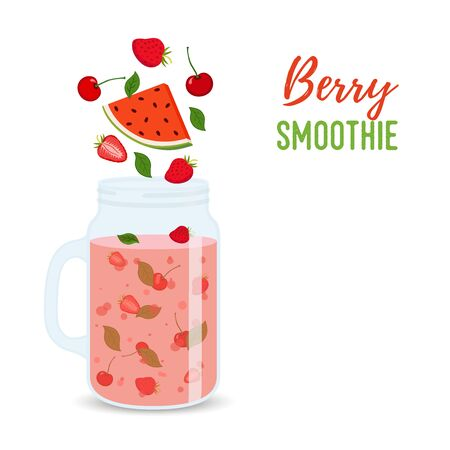 Vector berry smoothie in transparent jar, detox drink with strawberry, watermelon. Organic fresh juice in cup, cartoon flat style.