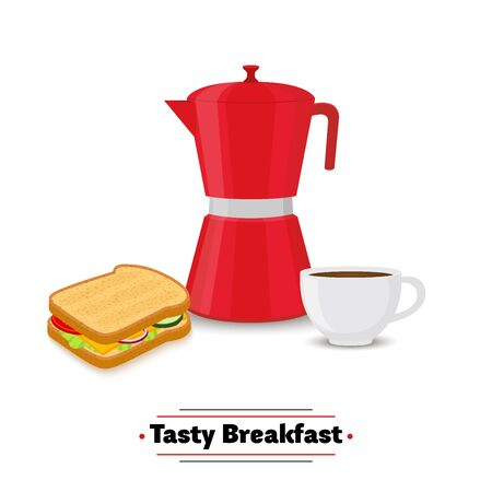 Vector set of breakfast - coffee pot, cup and sandwich. Healthy meal in cartoon flat style, fresh cuisine, dinner for restaurant or cafeteria menu.