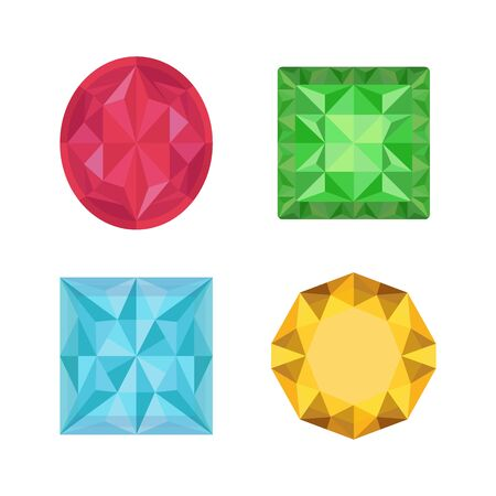 Vector collection of gemstones - luxury brilliants, topaz, emerald, opal. Bright jewelry in cartoon flat style. Red, green, blue and yellow crystals.