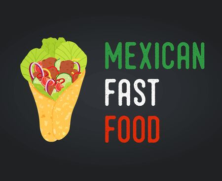 Vector Mexican fast food - burrito with vegetables, meat Ilustração