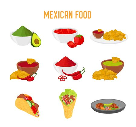 Vector Mexican food - traditional cuisine, taco, nachos, burrito and others. Tomato sauce, guacamole and pozole in cartoon flat style.