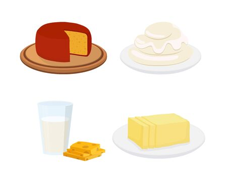 Vector set of milk products, cheese, sour cream, milk and butter. Cartoon flat style.