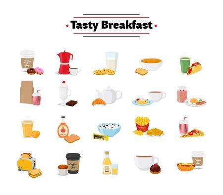 Vector conjunto de desayuno - comida diferente en estilo plano de dibujos animados. Brunch, almuerzo a carta de restaurante, cafetería o pastelería. Ilustración de vector