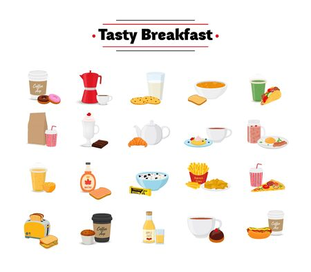 Vector set of breakfast - different food in cartoon flat style. Brunch, lunch for restaurant menu, cafe or pastry shops.