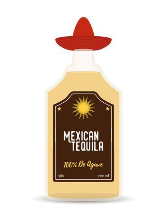 Vector traditional Mexican alcohol drink - tequila in transparent glass bottle. Cartoon flat object for bar menu, restaurant advertising, promo label. Ilustração