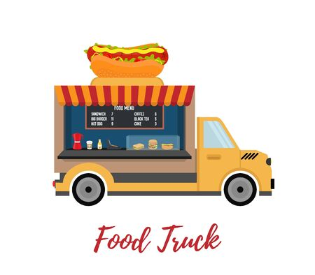 Vector fast food truck - delivery of street food, festival meal. Mobile cafeteria, restaurant in cartoon flat style.