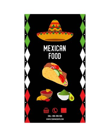 Vector Mexican food flyer - advertising brochure, promo banner. National kitchen poster with flag colors and taco, nachos and others. Cartoon flat style.