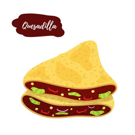 Vector traditional Mexican cuisine - spicy quesadilla. Hot sandwich with meat stuffing, pepper, cheese and others. Cartoon flat style. Ilustração