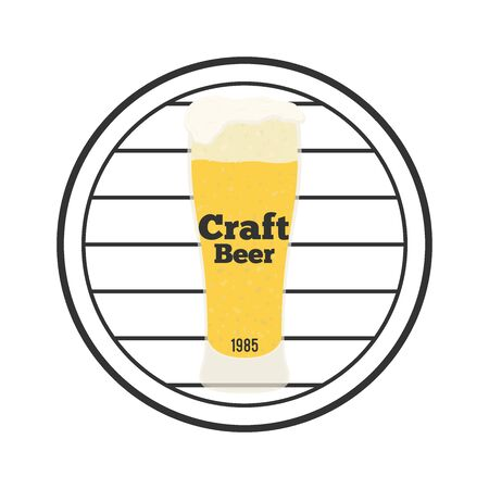 Vector beer logo with glass and wooden barrel