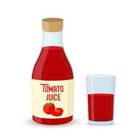Vector tomato juice - bottle with glass. Vegetable drink Ilustração