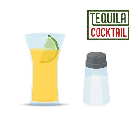 Vector set of tequila cocktail - glass with lime and salt shaker. Traditional alcohol for restaurant menu, bar or promo poster, ad banner.