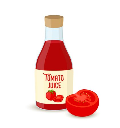 Vector tomato juice set - transparent bottle with half of red vegetable. Vegetarian concept. Cartoon flat style.