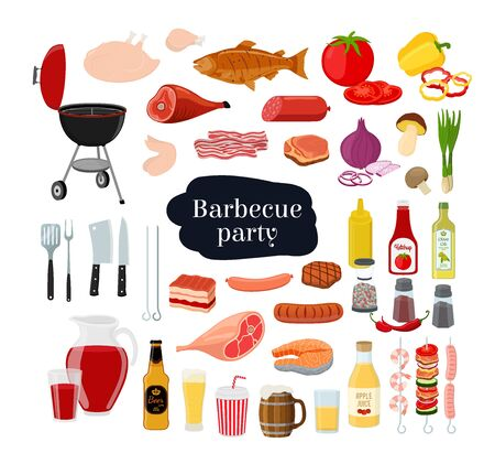 Vector barbecue set - grill with fork, different meat, seafood with vegetables and drinks. Barbeque party concept in cartoon flat style. Ilustração