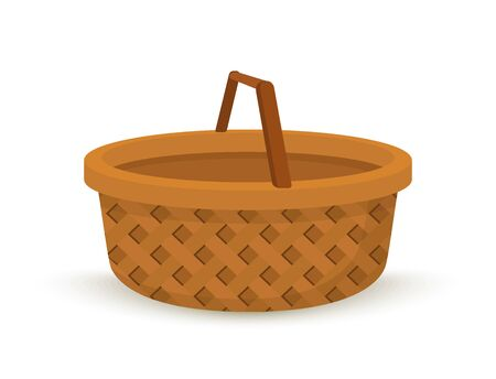 Vector wicker basket in cartoon flat style. Handcrafted willow box with handle, decorative accessory of basketry.