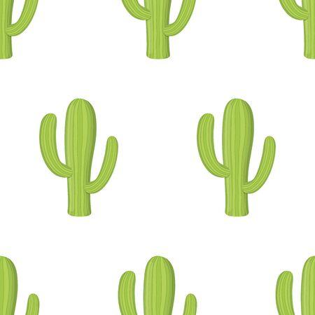 Vector seamless pattern with green cactus, desert succulent in cartoon flat style. Design for textile, print, wallpaper. Ilustração