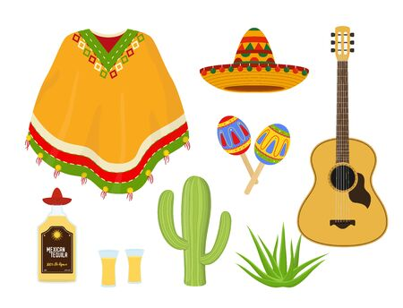 Vector Mexican collection - traditional clothing poncho, maracas, guitar and tequila. Agave plant, wicker sombrero in cartoon flat style. Latino culture.