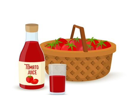 Vector tomato juice concept - glass with bottle and wicker basket full of tomatoes. Cartoon flat style.