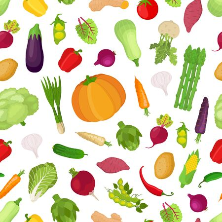 Vector seamless pattern with vegetables, big collection of organic garden plants. Healthy vegetable nutrition in cartoon flat style.