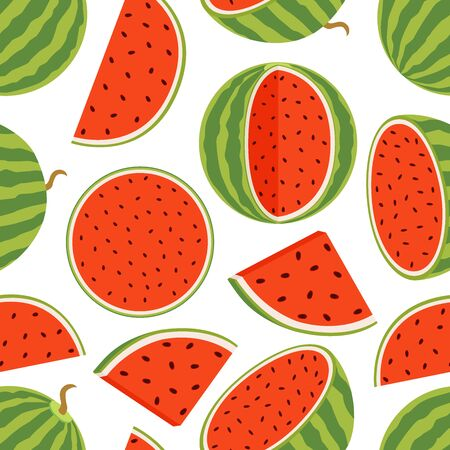 Vector seamless pattern with slices of watermelon and whole fruit. Green vitamin nutrition, vegetarian sweet dessert. Cartoon flat style.