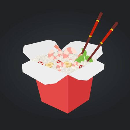 Vector wok with shrimp and rice. Chinese, Japanese cuisine, fast food in box. Ramen with prawn, Asian udon with chopsticks. Cartoon flat style.