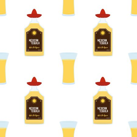 Vector seamless pattern with tequila glass bottle and shot. Alcohol drink decorative background in cartoon flat style. Ilustração