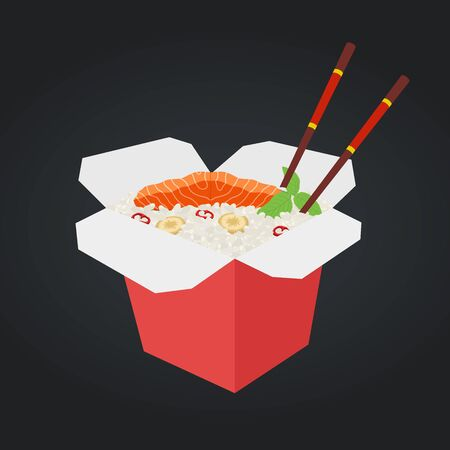 Vector wok with salmon and rice. Chinese, Japanese cuisine, fast food in box. Ramen with fish, seafood, Asian udon with chopsticks. Cartoon flat style.