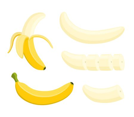 Vector banana set - whole yellow fruit and slices, peeled pieces. Ripe vegetarian food in cartoon flat style.