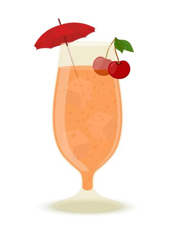 Vector alcohol cocktail with ice, cherry and cocktail umbrella. Bar beverage with vodka, liquor or non-alcohol drink. Cartoon flat style.