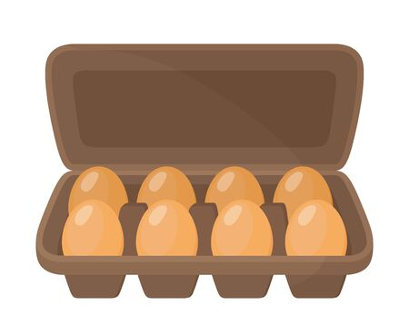 Vector cardboard container for chicken eggs. Brown box, package for farm product. Cartoon flat style.