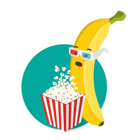 Vector banana character in 3d glasses with popcorn box.