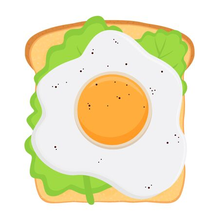 Vector traditional breakfast - sandwich with fried egg, salad leaf.