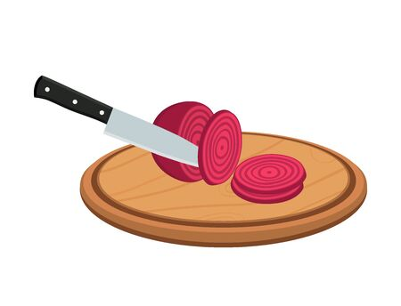 Vector sliced beetroot with knife on wooden cutting board
