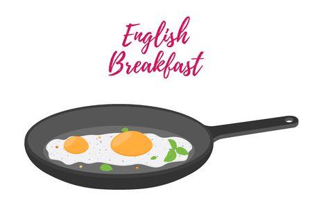 Vector English breakfast - fried egg on frying pan