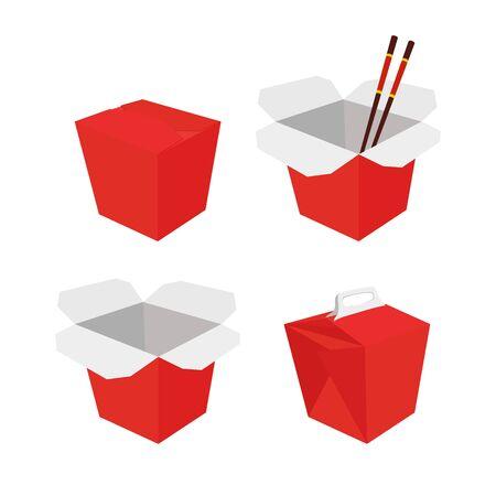 Vector wok container set, red cardboard box in 3d Ilustração