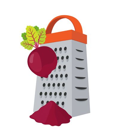 Vector grater with beetroot - stainless steel kitchenware to slice vegetables, cut products. Domestic shredder with sliced beet in cartoon flat style.