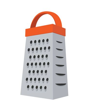 Vector grater - stainless steel kitchenware to slice vegetables, cut products. Domestic shredder in cartoon flat style. Ilustração