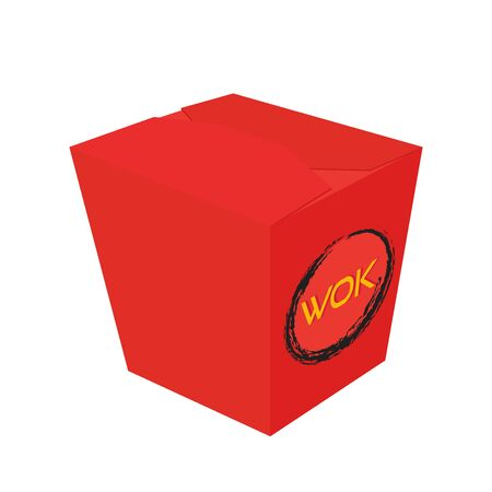 Vector wok container for Asian food delivery - red cardboard box. Package for Chinese noodle, Korean cuisine in cartoon flat style.