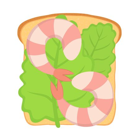 Vector sandwich with shrimp and salad leaf on white bread. Tasty appetizer in cartoon flat style.
