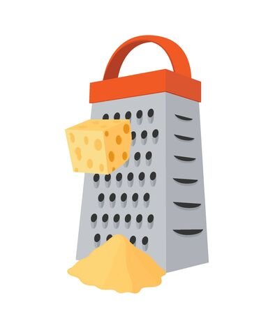 Vector grater with cheese - stainless steel kitchenware to slice dairy products. Domestic shredder with gouda cheese in cartoon flat style.