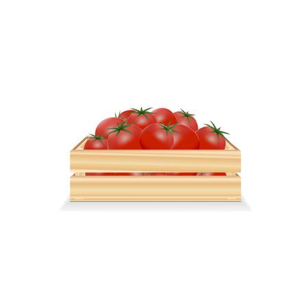 Boîte en bois avec des tomates sur fond blanc Banque d'images - 96283627
