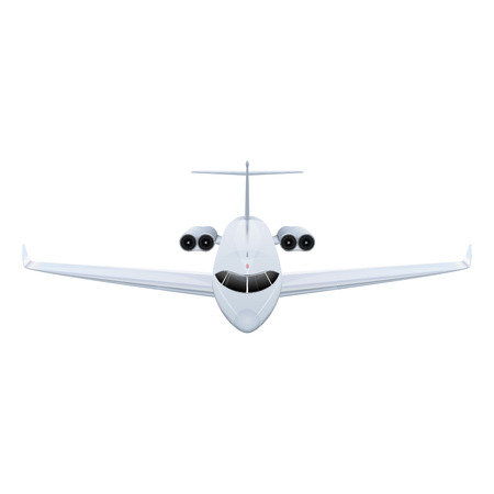 Flying a private jet in the sky vector illustration