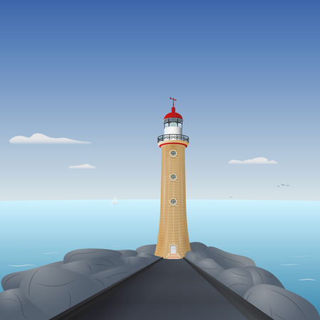 Illustration of lighthouse by the sea