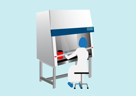Medical technologist use biosafety cabinet for diagnosis specimen and protect from hazardous in laboratory Vecteurs
