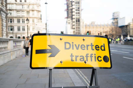Diverted traffic sign blocking the street of London