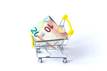 small shopping trolley filled with euro money cash. Isolated