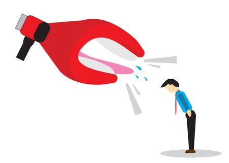 Businessman who was scolded by the company boss for mistakes. Vector illustration.